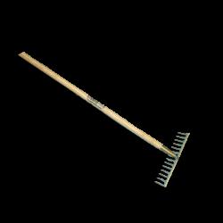 Tuinhark ATLAS 16 tands GEBOGEN, met gelakte essen steel 170 x 2,9 cm.