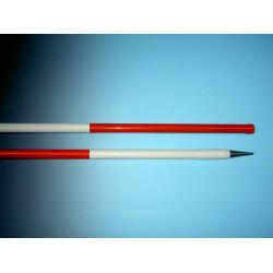 Jalonstok NESTLE hout 200cm., geplastificeerd, boven rood, stalen punt
